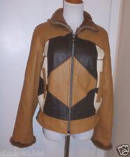 NWOT Camel Brown Leather with Rabbit Fur Lining & Trim Zip Jacket Coat Size M