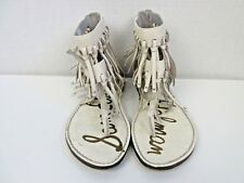 b02b8a9f4 Sam Edelman Womens Sz 5 Griffen White Leather Fringe Sandal Gladiator