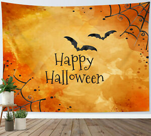 Happy Halloween Tapestry Bat Spider Web Wall Hanging Home Decor Bedspread Cover