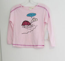 Roxy Girls Totally Turtle V Neck Graphic Tee Pink Mist Sz 6 - NWT