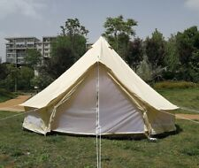 4M Canvas Bell Tent With Zipped Floor 4 Season Safari Camping Tent British Yurt