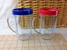 NEW Party Cups Mugs for Magic Bullet Juicer Set of 2 for MB1001 Blue Red