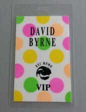 DAVID BYRNE LAMINATED BACKSTAGE PASS VIP TALKING HEADS