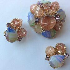 VINTAGE JULIANA D&E PINK PURPLE BLUE STIPPED CANDY RHINESTONE BROOCH & EARRINGS