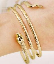 14k Yellow Gold Women's Men's Snake Head Wrap Cuff Bangle D462F