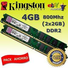 Memoria RAM DDR2 4GB (2x2GB) 800 Mhz Kingston - NUEVA - NO COMPATIBLE CON INTEL