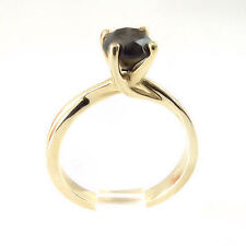 New 10k Yellow Gold Genuine .75 Cttw Black Daimond Solitaire Ring Size 5