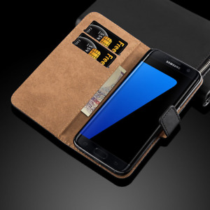 Real Genuine Leather Case For Samsung Galaxy S6 / Note 7 Wallet Flip Case