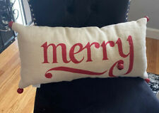 "Pottery Barn Pillow MERRY with JINGLE BELLS Jute CHRISTMAS Lumbar 12""x 24"" EUC"