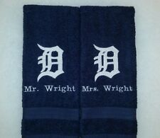 CUSTOM - PERSONALIZE DETROIT TIGERS LOGO EMBROIDERED NAVY HAND TOWEL SET