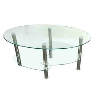 New Tempered Glass Oval Side Coffee Table Shelf Chrome Living Room Decor Clear