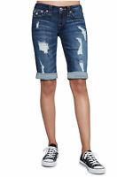 True Religion Women's Bermuda Jean Shorts w/ Flaps & Rips in Midnight Destroyed