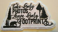 """Take Only Pictures~Outdoors~Hiking~Camping~Travel~Patch~4"""" x 2 1/4""""~Iron or Sew"""