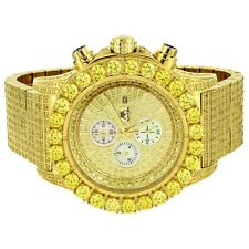 Canary Solitaire Watch Custom Simulated Diamond Analog Gold Tone Stainless Stees