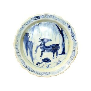Chinese Blue White Round Oriental Animal Graphic Porcelain Plate ws913