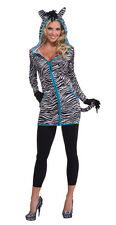 Womens Urban Zebra Hoodie Costume Animal Safari Sexy  Adult Size Standard