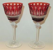 "Ajka Crystal, Godinger, KING LOUIS RUBY RED, Hand Made, Set of 2 Wine Glass, 8"""