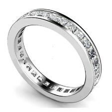 3 MM 1.50 Carat Princess Diamond Channel Set Full Eternity Ring in 9k W.G