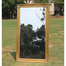 Europe Palace Style Embossed Wall Mirror White Wooden Frame 149cm X 50cm