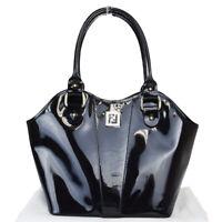 Authentic FENDI Logos Shoulder Tote Bag Patent Leather Black Italy 35EZ433