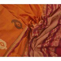 Sanskriti Vintage Orange Saree Pure Cotton Woven Sari Craft 5 Yd Decor Fabric