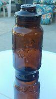 "Vintage Borden Jar W/Lid Dark Honey Amber Glass Apothecary Fleur de lis 9.25"" T"