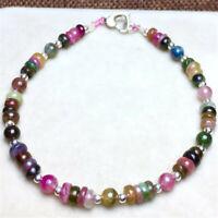1pcs Tourmaline Gemstone bracelet size 5mm Chakas mala Wristband natural Veins