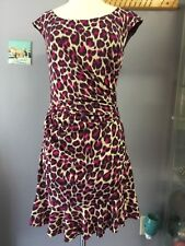 Betsey Johnson Assymetrical Leopard Print Flounce Dress Sz 6 Ruching