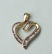 Ladies Heart Genuine Diamond Cluster Pendant w/ 49 Baguettes - 14k Yellow Gold