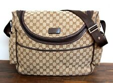 VINTAGE GUCCI KHAKI BROWN CANVAS LEATHER TRIM MESSENGER DIAPER BAG SHOULDER BAG
