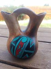 Looks Like wood Ceramic Native Wedding Vase/Bud Vase Pottery Santa Fe Signed LY