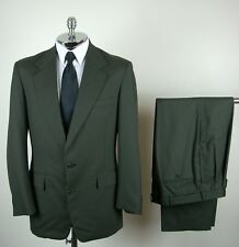 NORDSTROM / HERTLING 10-12 Cloth Mens Dark Green PURE WOOL 2 Button Suit sz 40 L