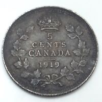 1919 Canada Small 5 Five Cents Silver Circulated Canadian Coin D446