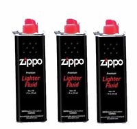 3 x Tin Genuine Zippo Zighter Petrol Fluid Fuel 125ml Refil Pemium