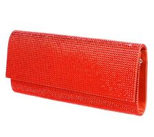 Judith Leiber Ritz Fizz Envelope Clutch Swarovski Crystals HYACINTH ORANGE RED