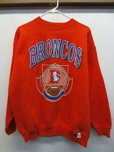 EUC Vtg 1990s Logo 7 Denver Broncos Orange Crewneck Sweatshirt USA Made Sz Large