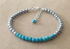 TURQUOISE+Silver HEMATITE Beaded, Silver Plated, Friendship Bracelet