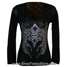 Shirt XL --NEW-- Women Lady Motorcycle Biker Gothic Western Long Sleeve Burn Out