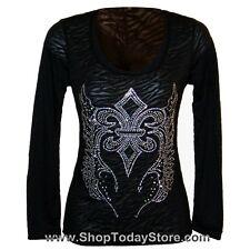 Shirt 2XL  XXL - Women Lady Motorcycle Biker Gothic Western Long Sleeve Burn Out