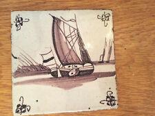 Antique Dutch Delft Ship Tile