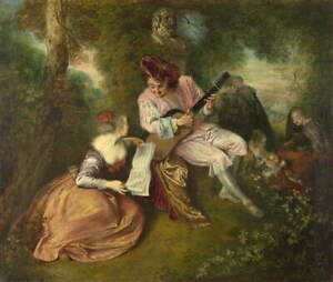 Antoine Watteau The Scale of Love Poster Reproduction Giclee Canvas Print