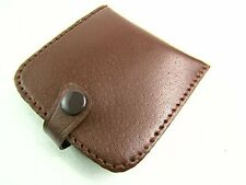 Unisex High Quality Real Leather Coin Pouch Tray Wallet Notes Purse Change BROWN