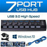 4/7 Port USB HUB 3.0 LED Powered High Speed Splitter Desktop PC Laptop Adapter