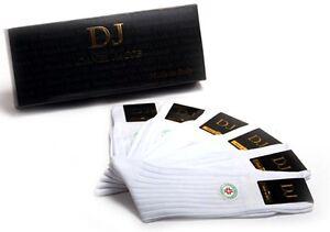 6 Pair Men's White Mid-Calf Diabetic Socks 100%Cotton Striped Design Gift Box