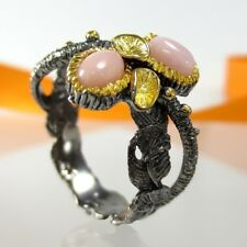 B033 Unikat Ring Jugendstil Edelopale 925 Silber 585 Gold Black Rhodium Gr.59