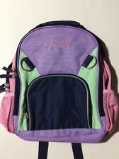 Pottery Barn Kids Small Fairfax Lavender Blue Pink Backpack name CHARLEY New