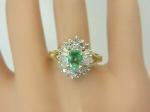 14k Yellow Gold Emerald and Diamond Ring 1.00 CT TW Cluster