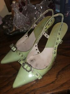 Vintage Dior Mint  Green Patent Leather  Pointy Toe Sling Back Heels Pumps 36