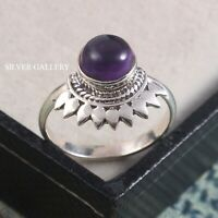 Amethyst  Solid 925 Sterling Silver Ring , Handmade Ring Size - 8.5 R 166