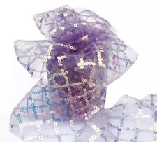 """Purple Sequins Stars SHEER TULLE RIBBON 2.5""""  DIY Favors Bows Sewing BTY 1 Yard"""